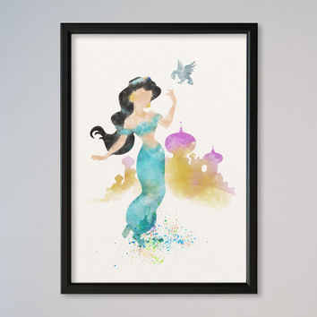 Jasmine Princess FRAMED Watercolor print Disney Jasmine Castle Watercolor Illustration poster Kids art Wall art Nursery Print Fine Art