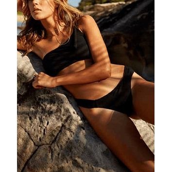 final sale - somedays lovin - ashed trail asymmetrical bikini separates - black