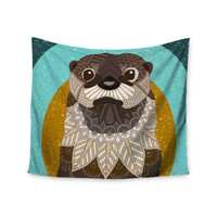 "Art Love Passion ""Otter in Water"" Blue Brown Wall Tapestry"