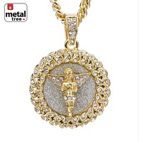 "Jewelry Kay style Men's Iced Out Mini Hip Hop Pray Angel Pendant 24"" Cuban Link Chain CPB 121 SG"
