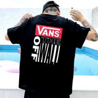 Vans 2019 new street fashion men and women sports cardigan round neck half sleeve T-shirt black