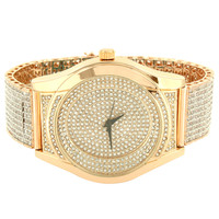 Men's 14k Rose Gold Finish Designer  Fully Iced Out watch with Custom Ice Tray Band