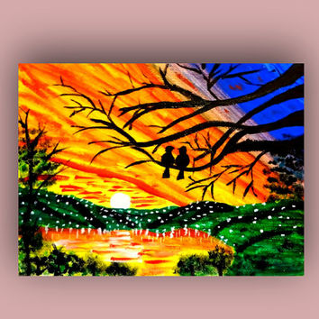 Valentine card Love birds painting print Acrylic painting Valentine greeting card paper Handmade card Lovers gift Sunset birds Love card