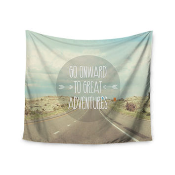 "Jillian Audrey ""Go Onward to Great Adventures"" Typography Wall Tapestry"