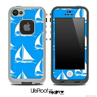 Blue and White Nautica Collage V5 Skin for the iPhone 5 or 4/4s LifeProof Case