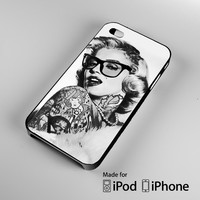 marylin monroe tatooe glasses iPhone 4 4S 5 5S 5C 6, iPod Touch 4 5 Cases