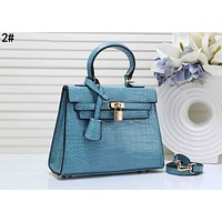 Hermes Fashion Women Leather Handbag Shoulder Bag Satchel 2# Blue