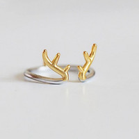 Gold Plated Deer Silver Ring