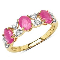 14K Yellow Gold Plated 2.07 Carat Genuine Ruby & White Topaz .925 Sterling Silver Ring
