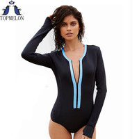 Swimsuit  long sleeve Swimwear Vintage One-piece Surfing Female Biquini One Piece Swimsuit monokini Cut Out bathing suit