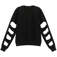 Black T-shirt with Cut Out Long Sleeves