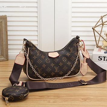 LV Louis Vuitton fashion letter printing color matching ladies shopping two-piece crossbody bag shoulder bag round small wallet