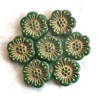 Lot of 5 large 18mm opaque green and gold Czech glass flower beads, forest green pressed glass flower beads, 83101