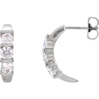 14K White 1/2 CTW Diamond J-Hoop Earrings