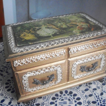 Antique Baroque Musical Jewelry Box by augiesvintagefinds on Etsy