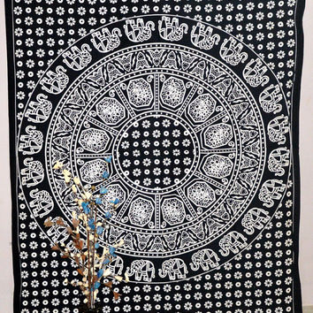 Indian Mandala Tapestry Dorm Room Decor Wall Hanging Bed Sheet Bedding Hippie Bohemian Boho Single Throw Cotton
