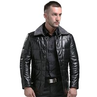 Genuine Leather Men Winter Leather Jacket Black Men Leather Down Jackets And Coats For Man