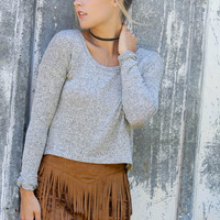 Back In Town Marled Gray Long Sleeve Lightweight Sweater Crop Top