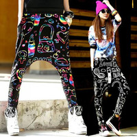 Hip Hop Skull Harem Pants Women Hanging Crotch Baggy Sports