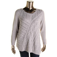 INC Womens Plus Wool Blend Cable Knit Pullover Sweater