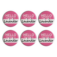 Lavender Hello My Name Is Plastic Resin Button Set of 6