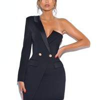 Keep One Up One Sleeved Black Crepe Tuxedo Blazer Dress
