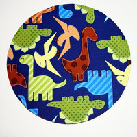 mousepad / Round Mouse Pad / Mat - Dinosaurs Blue Brown