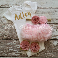 Baby Girl Take Home Outfit Newborn Baby Girl Custom Onesuit Bloomers Headband Sandals Set Dusty Rose Baby Pink