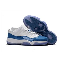Air Jordan Retro 11 Low University Blue And White Basketball Shoes 11s Low White Blue Athletics Sneakers With Shoes Box