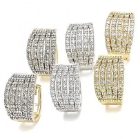 Gold Layered Huggie Hoop, with Cubic Zirconia, Two Tone
