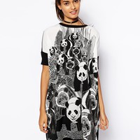 ASOS T-Shirt Dress With Panda Print And Woven Front
