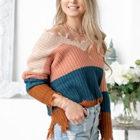 Shark Bite Contrast Block Sweater