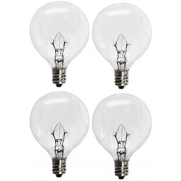 25 Watts G16.5 Replacement Light Bulbs for 25WLITE Scentsy Full Size Warmer, Candle Wax Melt Warmer and Globe Incandescent Lamps, Candelabra E12 Base Pack of 4 4 Pack
