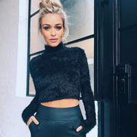 Fashion  All-match Short Section Tight Long Sleeve Turtleneck Sweater