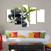 LARGE CANVAS Wall Art - White Lotus Flower on Black Zen Stone Art Canvas Print - Large Size Canvas - Wall Art Flower 5 Panel Canvas - MC179