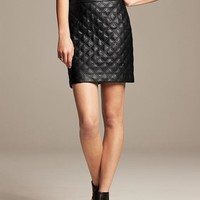 Banana Republic Womens Quilted Faux Leather Mini Size 14