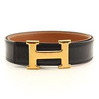 AUTHENTIC HERMES CONSTANCE H BELT BLACK BROWN 70 X GRADE AB USED -AT*
