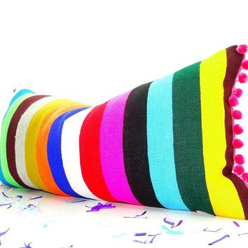 Bohemian decor, Mexican Pillow covers 14x28, funky Mexico Blanket Fabric Pillow,  Tribal Aztec Pillowcase sham multicolor Pillows