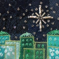 Embroidered Christmas card - 5 inch square fabric art card - beaded star - starry sky - blue and green Advent card