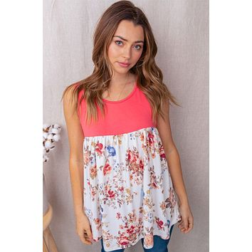 Cutest Ever Coral Floral Sleeveless Babydoll Top