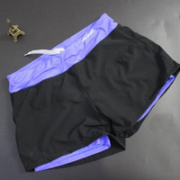 Sport Shorts Women Running Casual Double Layer Anti Emptied Slim Yoga Workout Fitness Pants Quick Dry Polyester