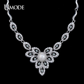 UMODE White Gold Color Micro CZ & Simulated Pearl Luxury Bridal Accessories Wedding Jewelry Chunky Necklaces for Women UN0100