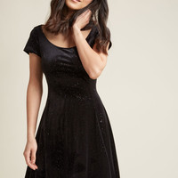 Scoop-Neck Velvet Skater Dress in Black Glitter
