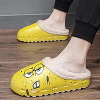 Plus Velvet Slippers Spongebob Waterproof Non-Slip Cotton Slippers Cartoon Warm Cotton Slippers Parent-Child One Generation