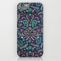 Colored Chalk Floral Doodle Pattern iPhone & iPod Case by Micklyn