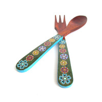 Hand Painted Wooden Serving set:  Wooden serving set wooden spoon and fork Salad servers