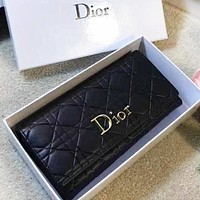 DIOR Women New fashion leather purse wallet Black