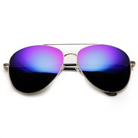 Premium Color Mirrored Metal Aviator Sunglasses with Spring Temples