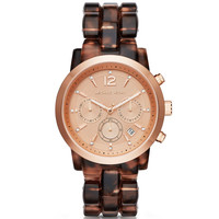 Michael Kors Audrina Chronograph Tortoise Acetate Watch 42mm MK6199