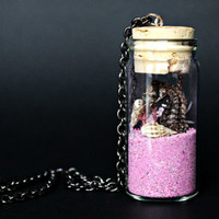 Seahorse In a Jar Necklace, sand, shells, cracked quartz - Jewelry // Pinky